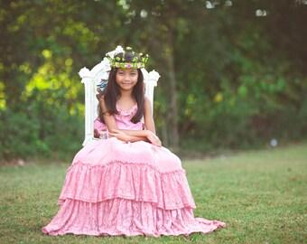 Bohemian Flower Girl Pink Lace Dress, Boho Spring Summer Maxi Dress, Junior Bridesmaid Dress, Pink Toddler Beach Dress, Willow