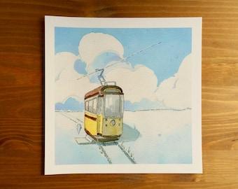 "Ghost Train ""Transport"" Watercolor Print 8x8 by Kendra Minadeo Nursery Art, Baby Art, Nursery Decor, Inktober"