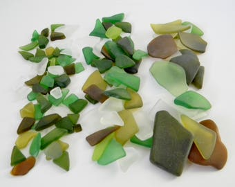 Tumbled Glass Mix in Frosted Clear, Green, and Brown - 5 oz Bag - Small, Medium, or Large Pieces