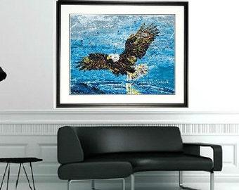 Bald eagle print, Bald Eagle wall art, Eagle art, Framed Bird art, National bird wall art, by Johno Prascak