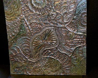 Double sided embossed metal art, repousse, metal relief, wall art, journal cover, photo album cover, home decor, housewarming gift, handmade