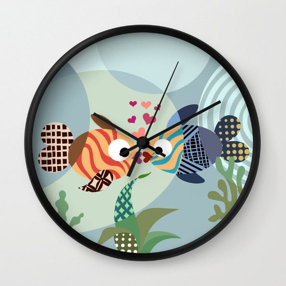 Fish Clock, Love Decor, Love Gift, Valentine Gift, Wall Clock, Blue, Teal, Turquoise, Girls Room Decor