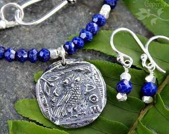 Athena's Owl necklace & earring set- lapis lazuli, sterling silver ancient greek owl coin- wisdom - warrior - royal blue -free shipping USA
