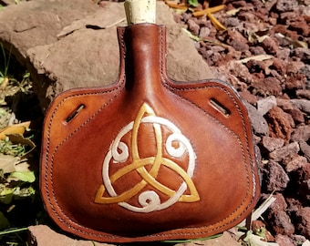 Leather Bottle with Celtic Triple Knot - Irish Medieval Knot Hand Tooled Hand Stitched Small Leather Flask - Triquetra Trinity Knot