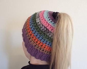 PONYTAIL HAT - Messy Bun Hat - Ponytail Hole Hat - Ponytail Beanie - Crochet Beanie - Women's Hat - Crochet Hat - Knit Hat - Made To Order