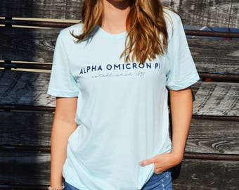 Alpha Omicron Pi, Est 1897   Bella Canvas Short Sleeve Tee