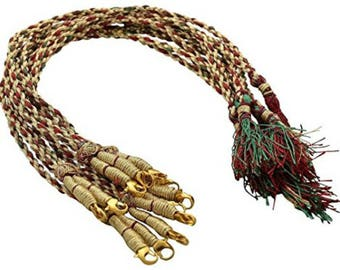 GOELX Designer Back Rope Dori, Connecting Dori for Necklace Making, Silk Thread/Terracota Jewellery, Quilling - Red, Green and Gold
