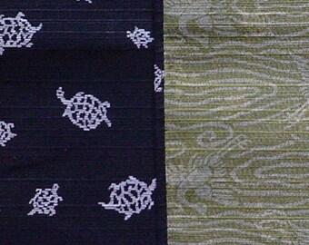 Reversible Furoshiki Two-Sided 'Kuro Kame' Turtle Cotton Japanese Fabric 48cm  w/Free Insured Shipping