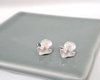 Silver Earrings, Sterling Silver Ruffle Studs, Botanical Earrings, Flower Earrings, Delicate Silver Earrings, Handmade Silver Earrings,
