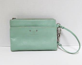 Vintage Stone Mountain Leather Wristlet Purse, Phone Case, Wallet, Mint Green