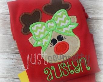 Rudette Reindeer Girl Embroidery Applique Design