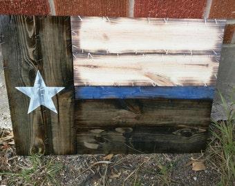 Small Thin Blue/Red Line Texas Flag