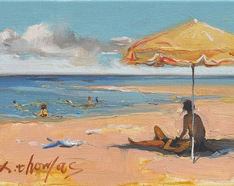 Original oil painting Beach woman 12 x18cm by X.thmoas
