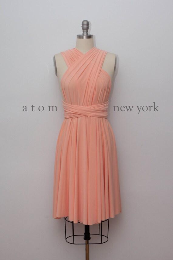 Peach Short Infinity Dress Convertible Formal Multiway Wrap