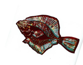 rainbow flounder patch. iron on