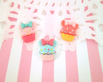 Multicolor Mouse Ear Cupcake Cabochons, Cute Decoden Cabochons, #748b
