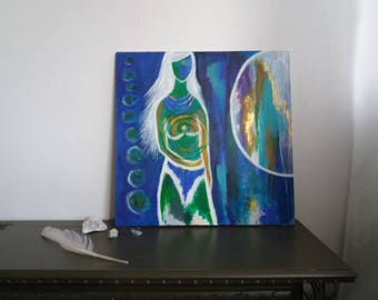 Original intuitive spiritual painting, blue gold energy peace art woman heart