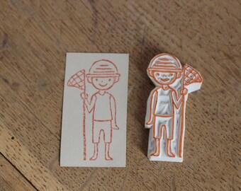 Boy/ Hand carved rubber stamp/ Handmade rubber stamp/ Eraser stamp.