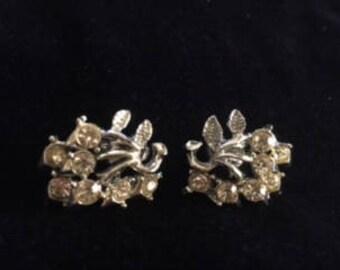 Vintage Coro Rhinestone clip on earrings