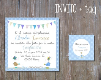Birthday custom invite+ tag ,card baby shower and party invitation