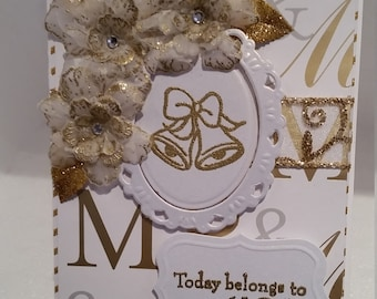 Unique gold and white wedding card