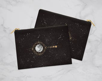 Golden Moon Pencil Case, Planner Accessories, Planner Pouch, Pencil Pouch, Zipper Pouch, Pouch, Makeup Bag, Cosmetic Bag, Bridesmaid Gift
