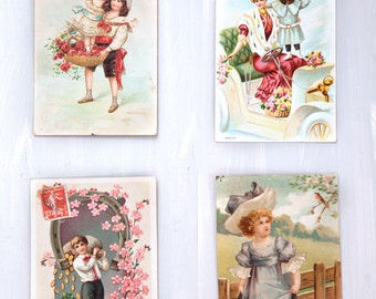 4 Used Vintage French Postcards  - Happy New Year - Edwardian Style - Free Shipping within the USA