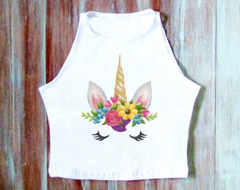 Einhorn Crop Top-Blume Einhorn Crop Top - Yoga Top