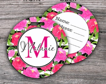 Round Luggage Tag Peonies Watercolor Floral Personalized Travel Tag Custom Monogram Gift