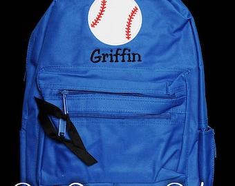 Boys Personalized Backpack, Baseball Backpack, Monogrammed, Choose Your Own Colors, Custom Backpack, Boys School Backpack, Sports Backpack