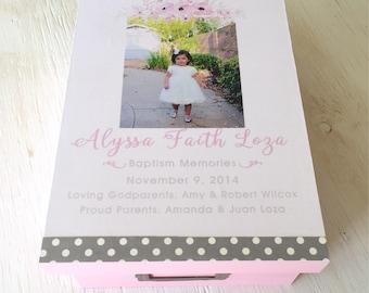 Keepsake Box Baptism - Baby Stats - Memory Box - Baby Girl Gift -Baby Memory Box - Keepsake Box - Baby Shower Gift - Baptism Gift