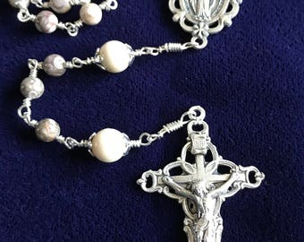 Natural Stone Wrapped Rosary