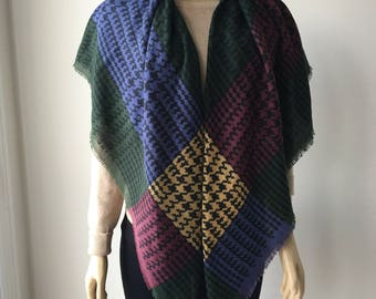 1980's Extra Large Shawl Wrap Scarf fringed  Oversized Scarf colorful Squares Winter scarf Shoulder shawl Neck scarf gift for her