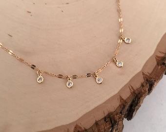 Dainty gold Sparkle Choker ( cz - cubic zirconia)