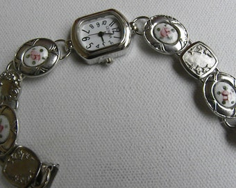 ENAMEL CUFFLINK WATCH  Flower Garden Silver Plated Downton Abbey
