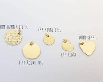 Add on disc charm - Add a Gold filled//Sterling Silver charm