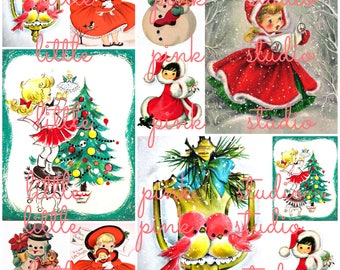 A Sweet Little Christmas, vintage collage sheet (printable, digital download)