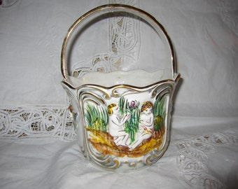 Basket with Handles by Pereiras Valado Handpainted Cherub Design
