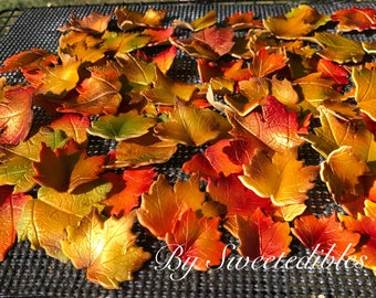 Fall Maple Leaves Cake Decorations Edible