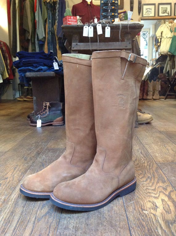 Vintage deadstock tan brown suede leather Chippewa tall snake boots 23938 US size 11.5 Vibram soles