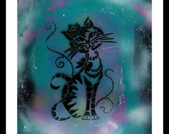 "Spray Paint Art- Acrylic, 12x16 Zoll, ""Magical Cat"", spray paint, cat, animal picture, children's room, children's decoration,cat figure"