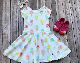 Ice Cream Dress. Toddler Dress. Little Girl Dress. Twirl Dress. Twirly Dress. Baby Dress. Baby Ice Cream Dress. Ice Cream Party. Comfy Dress