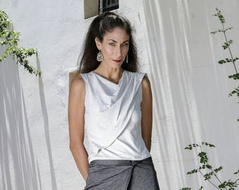 Asymmetrical Tops, Wrap Top, Multiway Top,Womens Sleeveless Tops, Plus Size Tops, Evening Tops, Light Grey Top, Womens Casual Tops