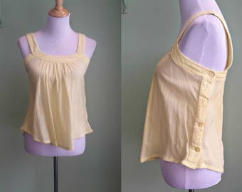 1970s Yellow Gauze Tank Top - Side Button - XS/Small