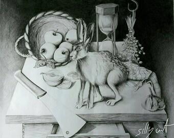 drawing - The Presentiment   - pencil, graphite, hare, black and white, nocturnal, dark, gothic, vanitas, memento mori, stilllife