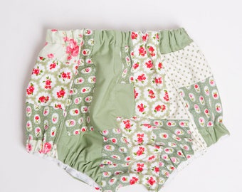 Nappy or Diaper Cover / Pants Vintage Patchwork Photo Shoot / Photography Outfit 6 - 12 Months Green / Cream / Pink