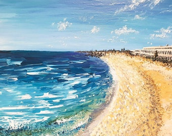 "20"" x 16"" Beach Fremantle Power Station Art acrylic pallet knife painting original artwork gift"