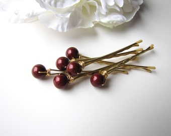 Marsala Red Garnet Pearl Hair Pins, Bordeaux 8mm