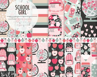SCHOOL GIRL digital paper kit. Back to school backpack, apples, globes, pencil, flower and heart digital papers for girls,
