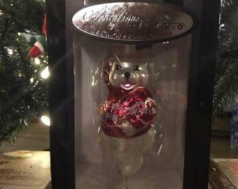 "5"" Celebrations by Radko Glass Figure Christmas Tree Ornamanet Polar Bear in Sweater NIB"